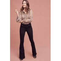 Anthropologie Women Citizens of Humanity Fleetwood High-Rise Flare Petite Jeans Black Petite exclusive Coated cotton rayon polyester 4122225558862 CRYFRXZ