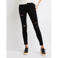 Charlotte Russe Women Destroyed Mid-rise Skinny Jeans BLACK 302513856 AAAPXEM