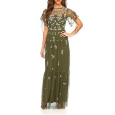 Adrianna Papell Women Beaded Mesh Tiered Gown Olive Crew neck Short flutter sleeves GBBIWDN