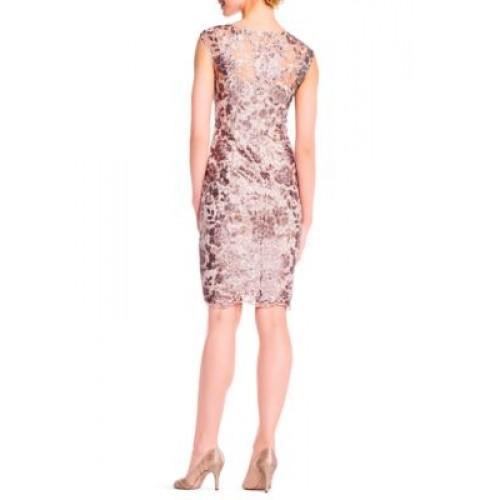 6c9d0a2f92 Adrianna Papell Women Floral Sequin Embroidered Sheath Dress Light Mink  RKRYQKR