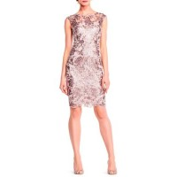 Adrianna Papell Women Floral Sequin Embroidered Sheath Dress Light Mink RKRYQKR