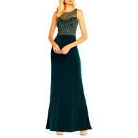 Adrianna Papell Women Long Beaded Tip Dress Hunter VLUAWEU