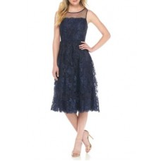 Adrianna Papell Women Sleeveless Lace Short Dress Navy Invisible zip closure Round neck AYWFWNO
