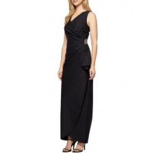 Alex Evenings Women Bead Embellished Gown Black V-neck Sleeveless PXQVDMD