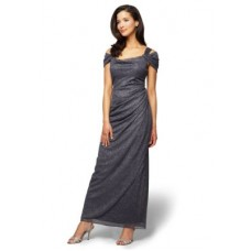 Alex Evenings Women Cold Shoulder Gown Gray Cowl neckline Short sleevesHand wash IWDPVWO