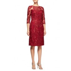 Alex Evenings Women Short Embroidered Dress Cranberry Zip closure Round neck JJUOEZC