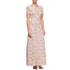 Alex Evenings Women Short Sleeve Gown V-Back Embroidered Dress Pale Blush Crew neck Short set-in sleeves JPTUWFH