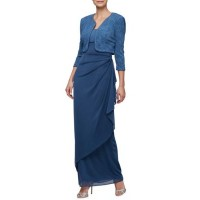 Alex Evenings Women Side Wrap Long Gown With Jacket Blue Violet Invisible zip closure Square neck FDJHAQG
