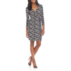 Anne Klein Women Printed Wrapped Dress Black/Summit Blue Combo ZCJLFPZ