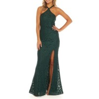 Betsy & Adam Women Long Sequin Lace Scallop Halter Gown Emerald FQSTOPM