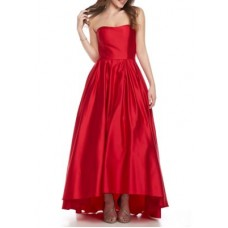 Betsy & Adam Women Satin High Low Hem Ball Gown Red Zip closure Strapless neck KZGTGAT