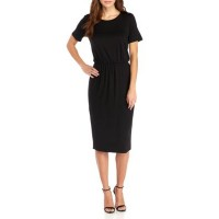 Charles Henry Women Midi Knit Dress Black Short set-in sleeves Knit fabricDry clean OICYXTR