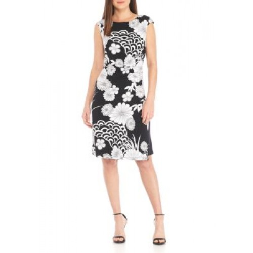 Connected Apparel Women Black and White Print Cap Sleeve Dress Black Pullover Boat neck TVDMFDC