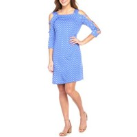 IVY ROAD Women Criss Cross Polka Dot Dress Periwinkle/White Square neck Three-quarter set-in sleevesHand wash LOLZEZH