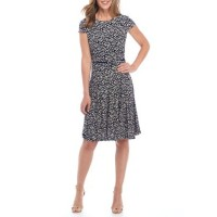 Laura Jeffries Women Printed Fit-and-Flare Belted Dress Navy/Ivory Invisible zip closure Round neck BNTIQJA