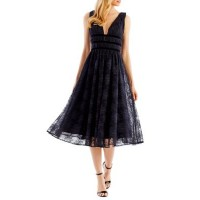 Nicole Miller New York Women Tea Length V Front Mesh Velvet Trim Dress Black CPDELXB