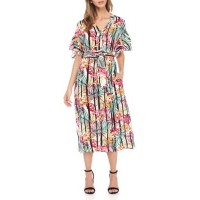 Nine West Women Drop Shoulder Double Ruffle Sleeve Printed Midi Dress Ivory/Fuchsia Multi Button closure V-neck LLNFMNB