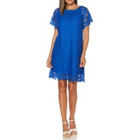 Rafaella Women Peasant Lace Dress Yacht Blue Pullover Off-the-shoulder neck ULHGZXN