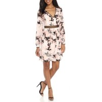 Sam Edelman Women Printed A-Line Dress with Waist Trim Blush Lina Zip closure V-neck CALNJOH