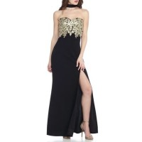 sequin hearts Women Bead Embroidered Bodice Gown Black/Gold Sweetheart neck; built-in bra with molded cups Sleeveless QCZRQWJ