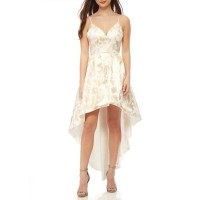 sequin hearts Women Brocade Print High Low Dress Ivory-gold XWQIJTW