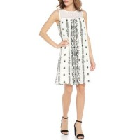 Studio 1 Women Sleeveless Printed A-Line Shift Dress White/Black Round neck Sleeveless TNACTNQ