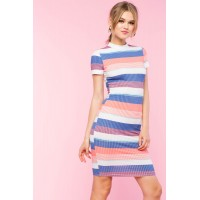 Women Multi Stripe Short Sleeve Bodycon Dress Blue Pattern 103407111 LVGUTNH