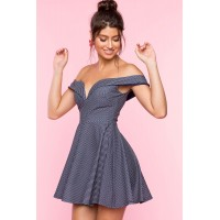 Women Pin Dot Off Shoulder Flare Dress Blue Pattern 103917701 YRLAFDV