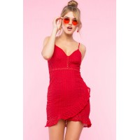 Women Ruffle Wrap Eyelet Dress Red 102804270 QJRQLWZ