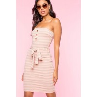 Women Stripe Tube Bodycon Dress Fuchsia/Pink Pattern 103611681 WDNQUMJ