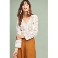 Anthropologie Women Blaine Textured Blouse WHITE An Anthropologie exclusive Cotton; polyester lining 4110204580031 RGEWZQG