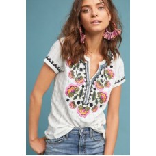 Anthropologie Women Dandelion Embroidered Top IVORY Cotton Embroidered detail 4112556930001 TSCBBSA