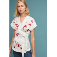 Anthropologie Women Elodie Wrap Blouse IVORY Linen cupro modal Embroidered detail 4110605590004 ACECJCX
