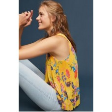 Anthropologie Women Floral Plisse Top YELLOW MOTIF Polyester Vneck 4110638570006 GTGHVCC