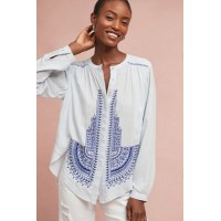 Anthropologie Women Iris Embroidered Buttondown SKY Rayon Embroidered detail 4110318356222 IXEULCE