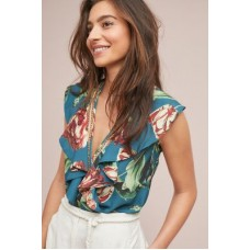 Anthropologie Women PatBO Ruffled Tropical Bodysuit Blue Polyester elastane Deep vneck 4139637360014 BUMSQGS
