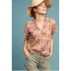 Anthropologie Women Ruffled Lotus Blouse PINK Cotton Ruffled neck and sleeves 4110571610007 PUBCTXF