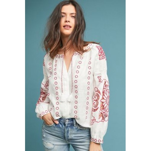 Anthropologie Women Seabrook Linen Peasant Top RED MOTIF Linen Embroidered detail 4110600550001 CPXJMCR