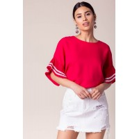 Women Dakota Contrast Ruffle Blouse Red 103463032 GCAISOQ