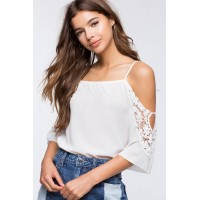 Women Pearl Crochet Cold Shoulder Top White 103008460 OVCCYFV