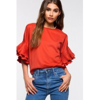 Women Pleated Sleeve Blouse Cognac 102006796 CLLWAMF