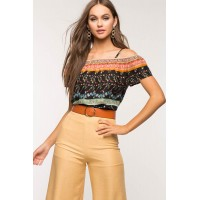 Women Savannah Border Top Black Print 102857283 HIJLWDV