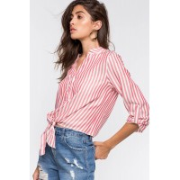 Women Stripe Tie Front Shirt Red Pattern 101407053 QHIUFCO