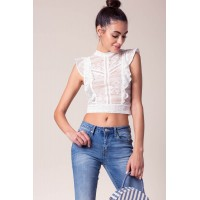 Women Sweet Thing Ruffle Lace Top White 102454492 KHUVGJY