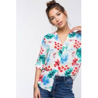Women Tropical Floral Shirt White Print 103153958 WPMCJAD