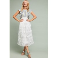 Anthropologie Women Alessandra Lace Skirt WHITE Polyester Embroidered detail 4120055550005 AOYLSIR