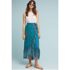 Anthropologie Women Allegra Skirt BLUE MOTIF ViscoseFlounced hem Wrapped silhouette 4120089543031 HFYYGSH