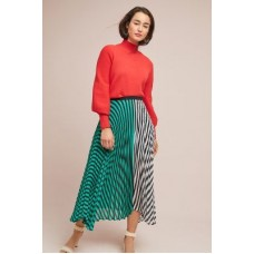 Anthropologie Women Clara Pleated Skirt BLUE MOTIF Polyester Pleated details 4120572650011 BMSPZGB