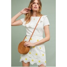 Anthropologie Women Daisy Lace Skirt YELLOW MOTIF Polyester Scalloped hem 4120464030013 YEGVRRX