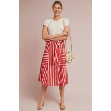 Anthropologie Women Faithfull Mazur Striped Linen Skirt RED MOTIF We have found this style runs small; we recommend sizing up for an ideal fit Linen 4120099510013 KIZCBWN